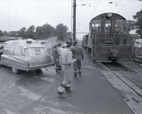 Penn Central Shuttle Service: Arrival at the crossing at Poplar Church Road in Wormleysburg.