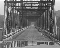 As the waters recede, a view into the interior of the Walnut Street Bridge looking west.