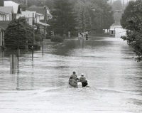 A motorboat approaches the intersection of Stella and Front Streets in Wormleysburg heading north towards West Fairview.